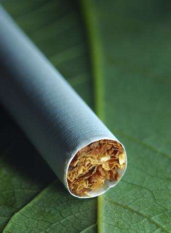 image of cigarette on top of tobacco leaf